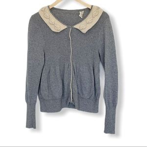 Anthropologie Field and Flower gray cardigan